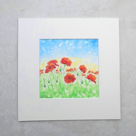 Original Watercolour 'Poppies'