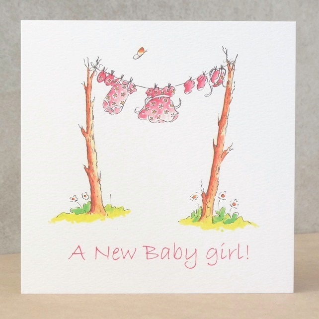 New Baby Girl Card Clothes Line  Ecofriendly