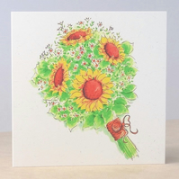 Eco-friendly Blank Card Sunflower Bouquet