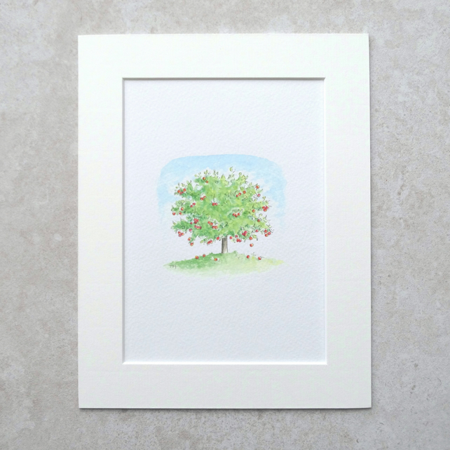 "S A L E   Original  'Apple Tree' Watercolour Illustration  (Mount size 9"" x 7"")"