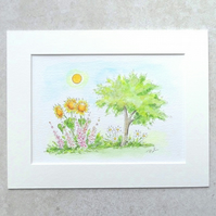 "S A L E   Original Watercolour Illustration 'Summer Garden' (Mount size 9"" x 7"")"