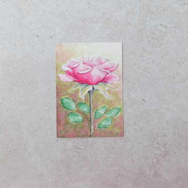 Original Watercolour ACEO 'Pink Rose'