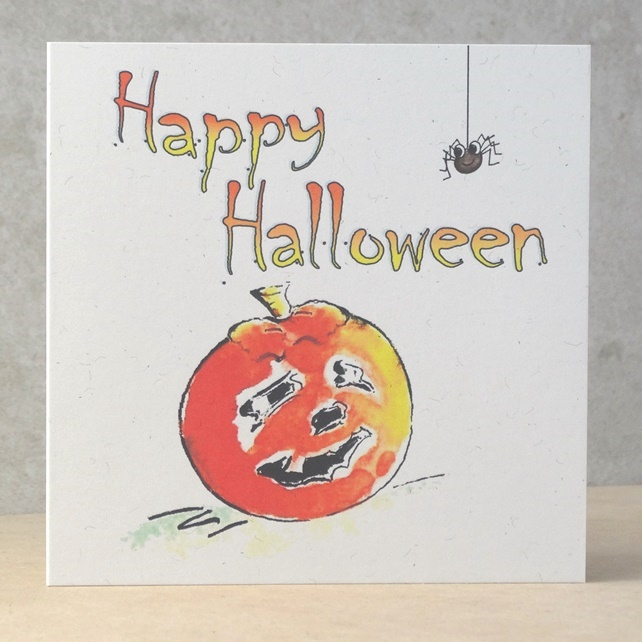 Happy Halloween Card Pumpkin and Spider  Ecofriendly