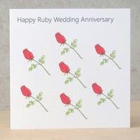Ruby Wedding Anniversary Rosebuds Card