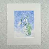Original Watercolour Painting 'Snowdrops'