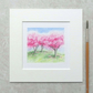 Original Watercolour Miniature Painting 'Cherry Blossom Trees'