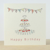 Happy Birthday Card Tea Party ecofriendly
