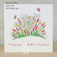 Age Birthday Card Daisy Garden - Printed with any age