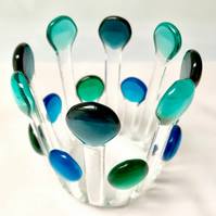 Blue Stem Fused Glass Candle Cage