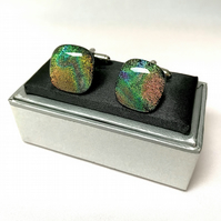 Shimmering Glass Cuff Links