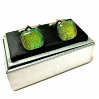 Gold-Green Shimmering Glass Cuff Links