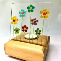 Glass Dot Flower Screen and Wooden Tealight Candle Stand