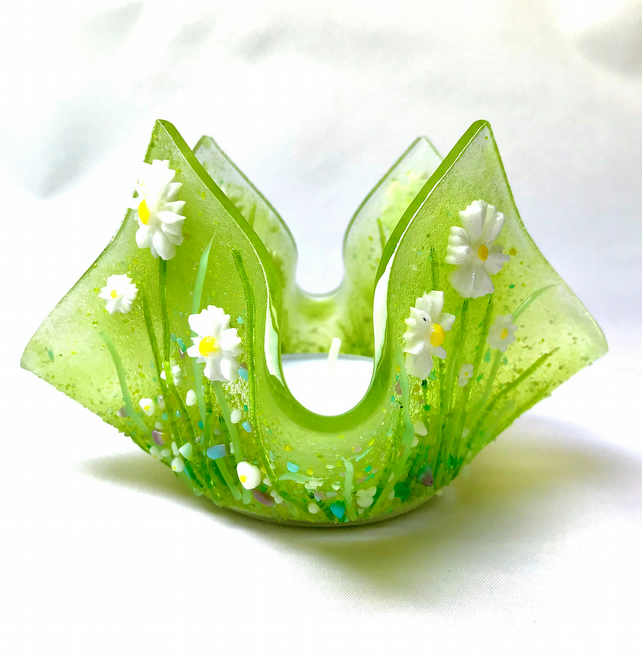 Fused Glass Daisy Candle Holder