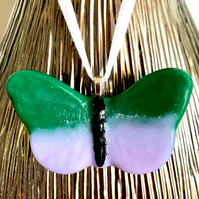 Green & Lilac Glass Butterfly Hanging Decoration
