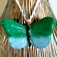 Green & Light Blue Glass Butterfly Hanging Decoration