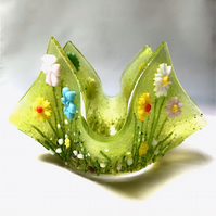 Fused Glass Wild Flower Candle Holder