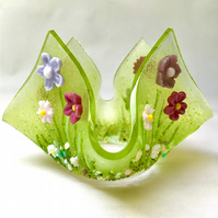 Fused Glass Pink Wild Flower Candle Holder