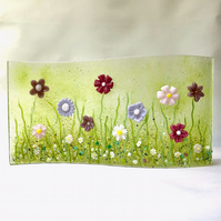 Pink Meadow Flowers Fused Glass Wave