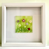Fused Glass Meadow Framed Picture Scene