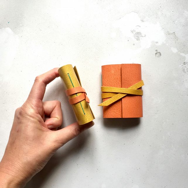 Mini Leather Notebook: Orange & Yellow miniature journal