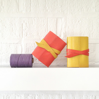 Mini Leather Notebook: Pink & Yellow little journal Spring gift