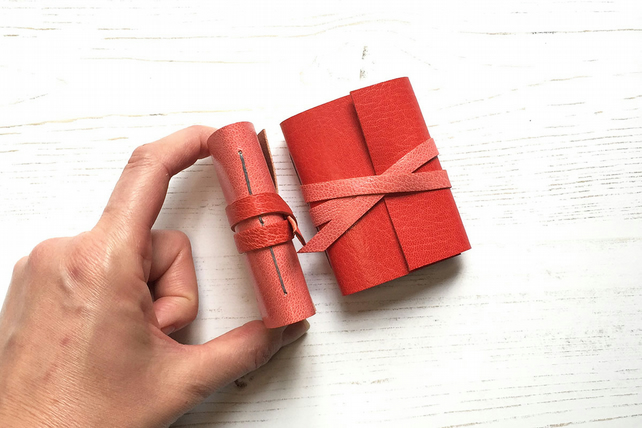 Mini Leather Notebook: Red & Pink little journal