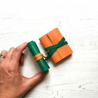Mini Leather Notebook: Green & Orange little journal stocking filler