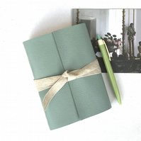 A6 Leather Notebook or Sketchbook: Duck Egg with linen ribbon