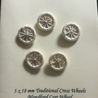 Set of 5, 18 mm, Dorset Cross Wheel Buttons, Ecru, D3