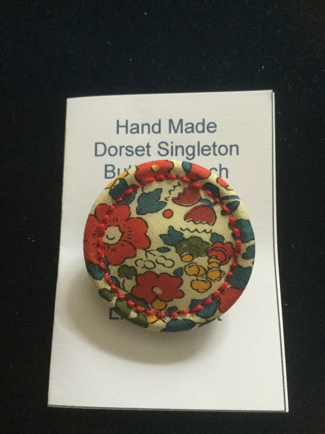 Liberty Print Dorset Singleton Button Brooch, 'Betsy Ann', Red
