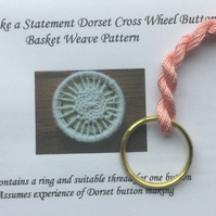 Kit to Make a Statement Dorset Button, Basket Weave Design, Coral