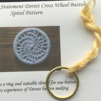 Kit to Make a Statement Dorset Button, Spiral Design, Cream