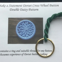 Kit to Make a Statement Dorset Button, Double Daisy Design, Dark Green