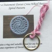 Kit to Make a Statement Dorset Button, Spiral Design, Frosty Pink