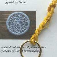 Kit to Make a Statement Dorset Button, Spiral Design, Yellow