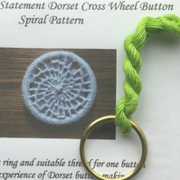 Kit to Make a Statement Dorset Button, Spiral Design, Bright Green