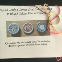 Dorset Button Flower Pattern Kit, Pinks and Purple, F3