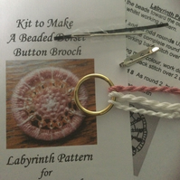 Kit for a Beaded Dorset Button Brooch, Labyrinth Design BL3