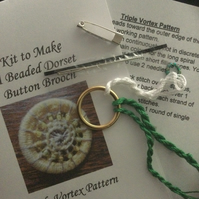Kit for a Beaded Dorset Button Brooch, Triple Vortex Design BV2