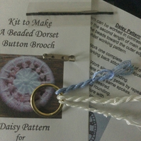 Kit for a Beaded Dorset Button Brooch, Daisy Design BD2