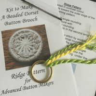 Kit for a Beaded Dorset Button Brooch, Ridge Design BR1