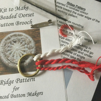 Kit for a Beaded Dorset Button Brooch, Ridge Design BR4