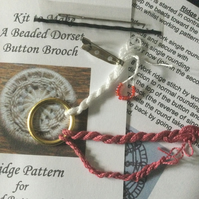Kit for a Beaded Dorset Button Brooch, Ridge Design BR5