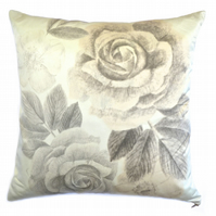 Botanical hand drawn print cushion, Roses, Accent, Silk Cotton, Home, Accessory