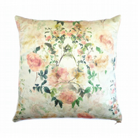 Hand painted floral cushion, Duck egg, Pink, Rose, Home accessory, Country Style