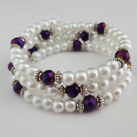White pearly wrap bracelet with purple sparkly beads - 2001282