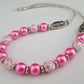 Pink ceramic and glass pearl necklace - 1002270