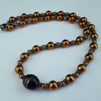 Metallic copper bead necklace - 1002445