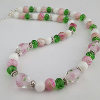 Pink, green and white lampwork glass bead necklace - 1002361