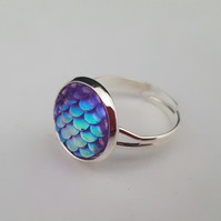 Purple iridescent dragon egg ring, adjustable